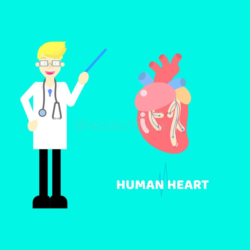 Medical internal organs body part nervous system anatomy surgery human heart and stethoscope healthcare. Logo label icon concept with pulse heartbeat background royalty free illustration