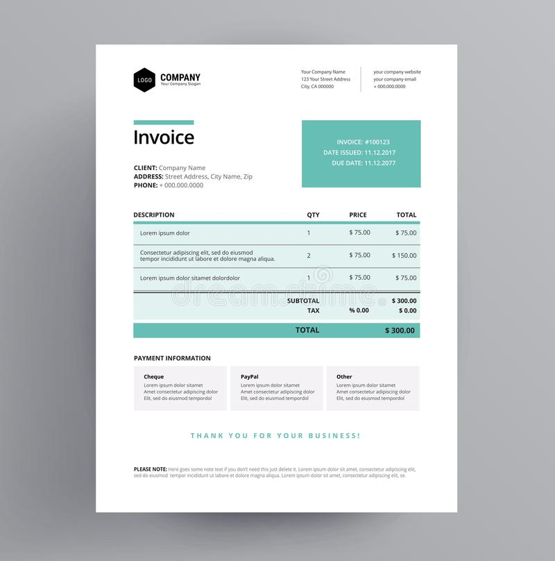 Medical invoice form template for medical professionals - doctor stock illustration