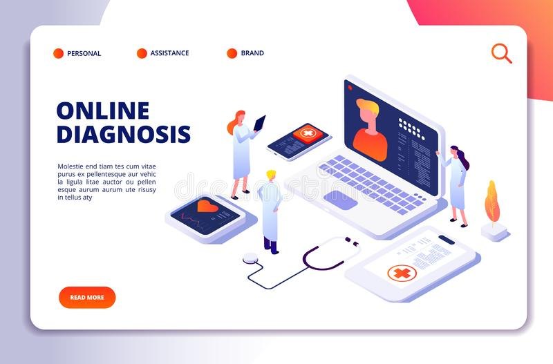 Medical isometric concept. Diagnosis with online patient and doctor, tele medicine exam. Healthcare vector landing page. Illustration of medical diagnosis vector illustration