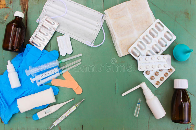 Medical items on table. stock photography