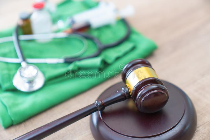 Medical jurisprudence. legal definition of medical malpractice. Attorney. common errors doctors, nurses and hospitals make stock photo
