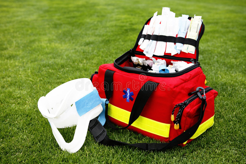 Medical kit - EMT. EMT - First aid bag with surgical collar royalty free stock image