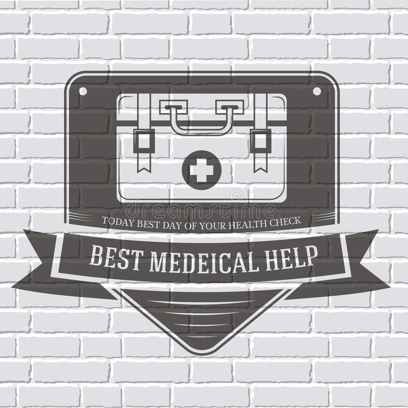 Medical kit logo or label template with blurred vector illustration