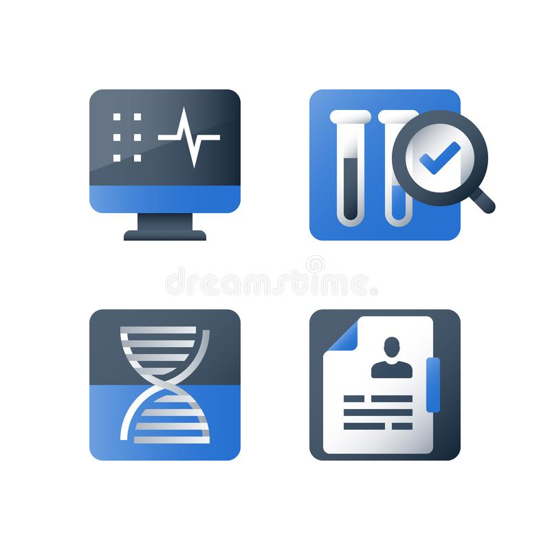 Sample test result, medical laboratory analysis, magnifying glass and lab tubes, chemistry research, pharmacology concept. Medical laboratory analysis, liquid royalty free illustration