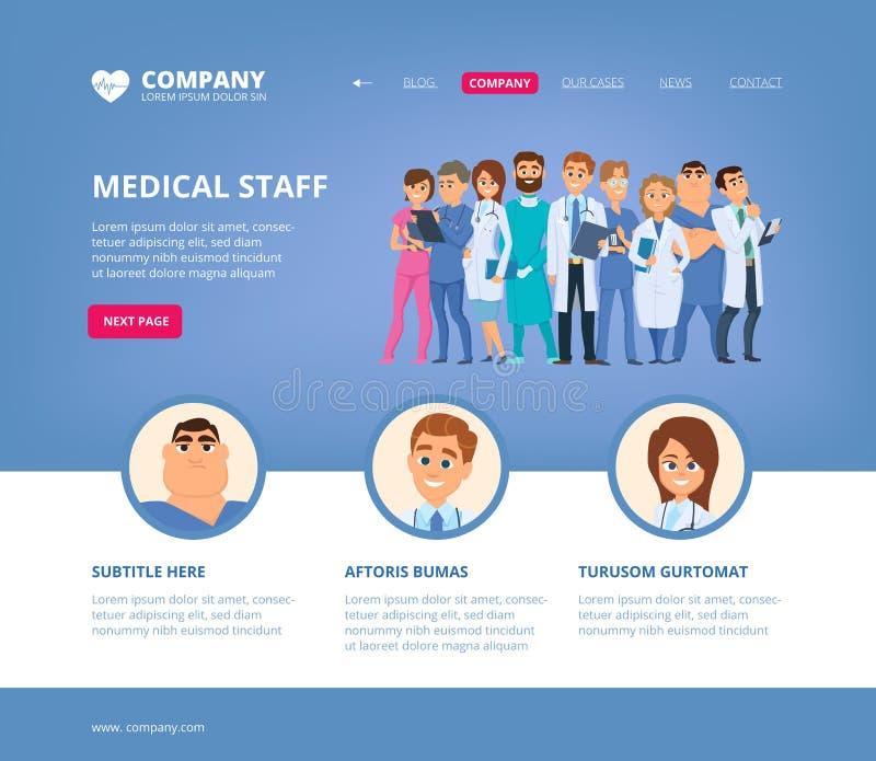 Medical landing. Hospital staff doctors nurse pharmaceutical biochemistry workers web page layout design template vector illustration