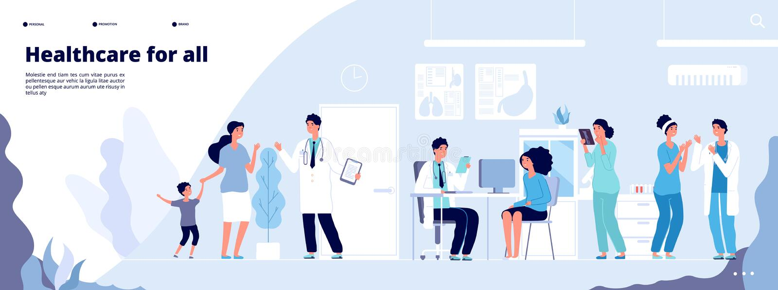 Medical landing page. Online clinical consult with diverse doctors. Healthcare vector concept stock illustration