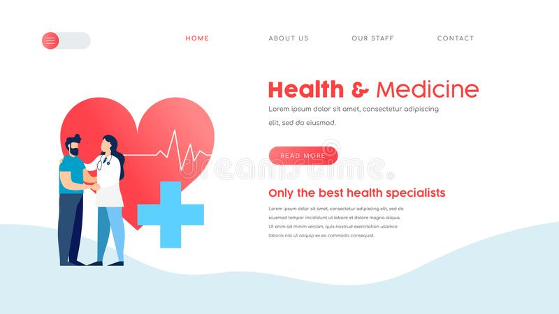 Medical landing page template for web doctor. Online doctor services web landing page template. Health and medicine website concept for checkup, appointment or stock illustration