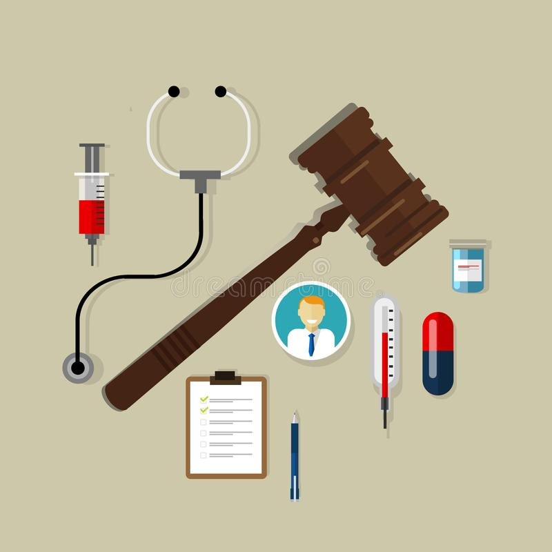 Medical law wooden hammer gavel justice legal authority case verdict law suit. Vector stock illustration