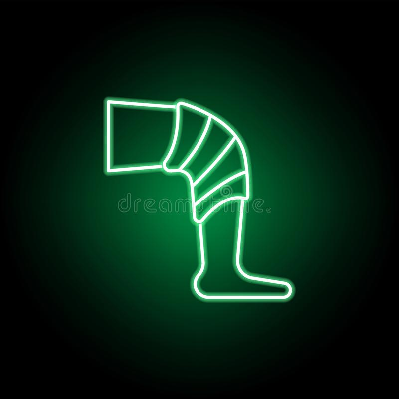 Medical, leg with bandage icon in neon style. Element of medicine illustration. Signs and symbols icon can be used for web, logo, vector illustration