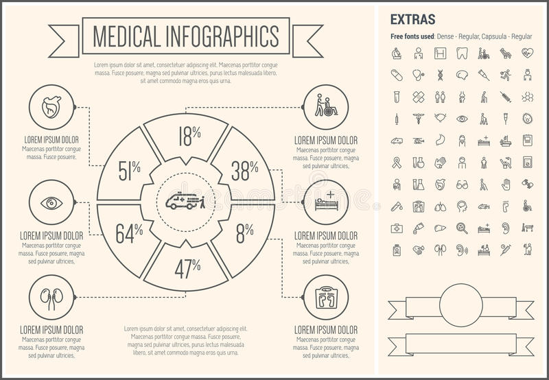Medical Line Design Infographic Template vector illustration