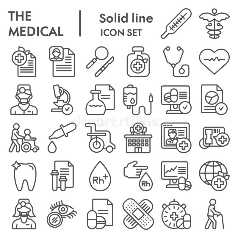 Medical line icon set, healthcare symbols collection, vector sketches, logo illustrations, pharmacy signs linear. Pictograms package isolated on white vector illustration