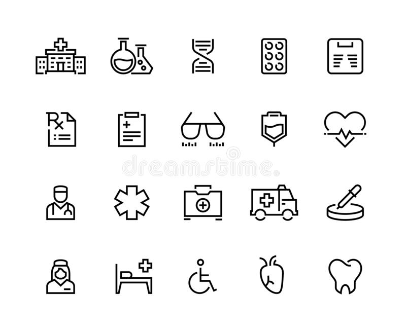 Medical line icons. Hospital care, doctor diagnostic and patient insurance, emergency medicine. Patient health vector. Symbols set stock illustration