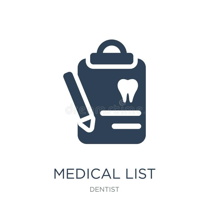 Medical list icon in trendy design style. medical list icon isolated on white background. medical list vector icon simple and. Modern flat symbol for web site stock illustration