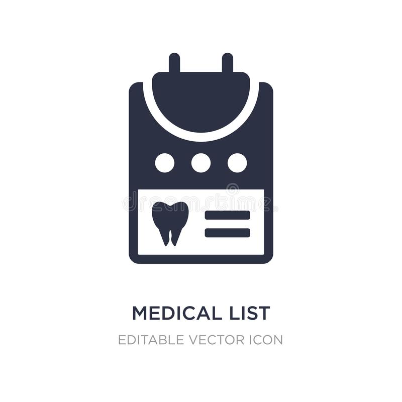 Medical list icon on white background. Simple element illustration from Dentist concept. Medical list icon symbol design royalty free illustration