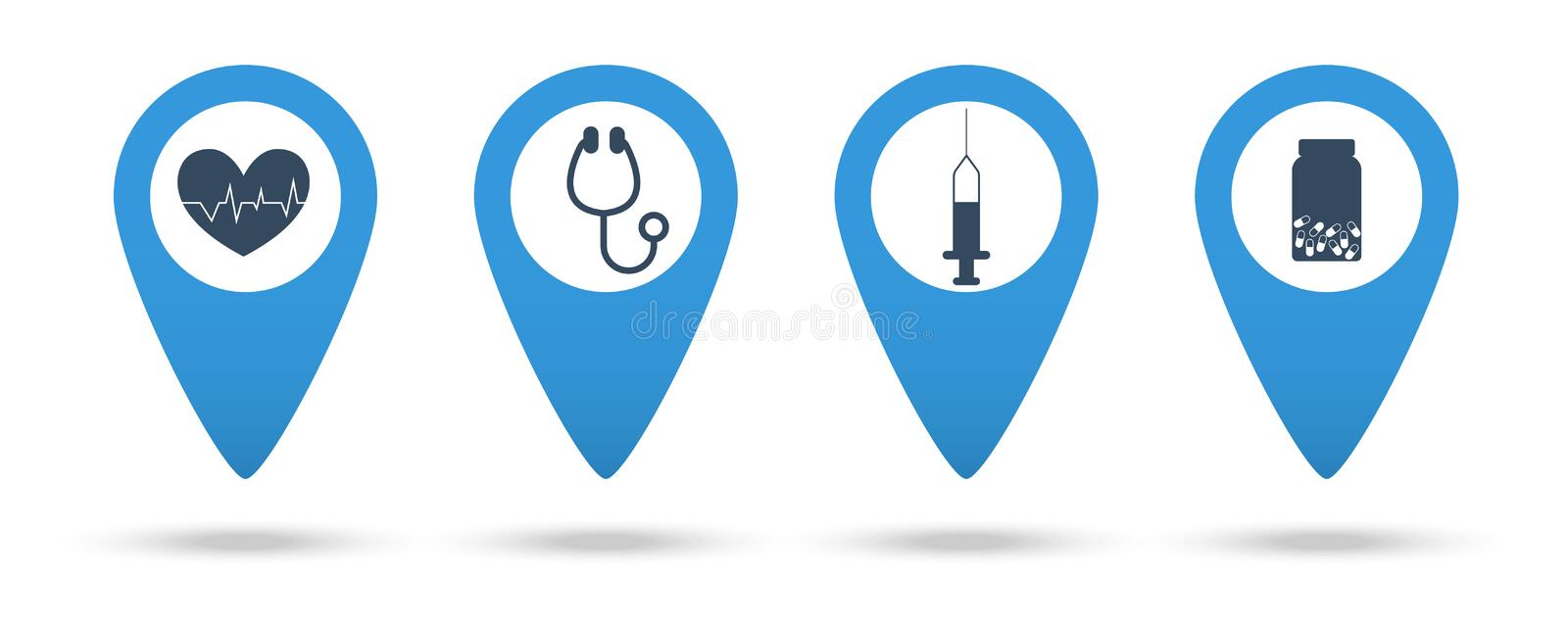 Medical locations. Mapping pins icons medical. Stethoscope, syringe, heartbeat, pills icons stock illustration