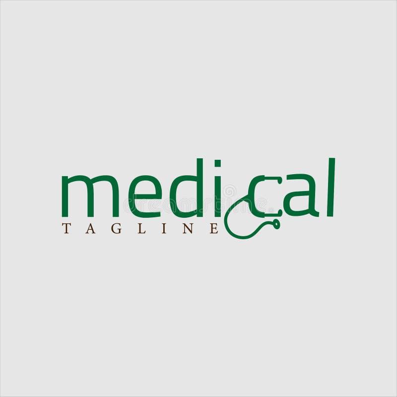 Medical logo design green vector conceptual royalty free illustration