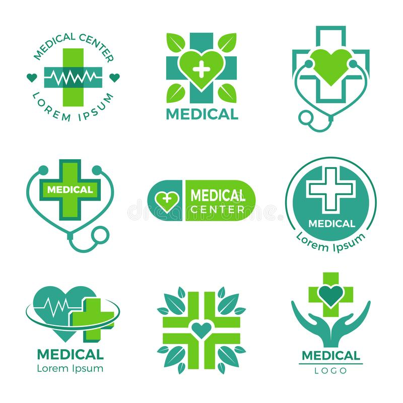 Medical logotypes. Medicine pharmacy clinic or hospital cross plus health care vector symbols design template vector illustration