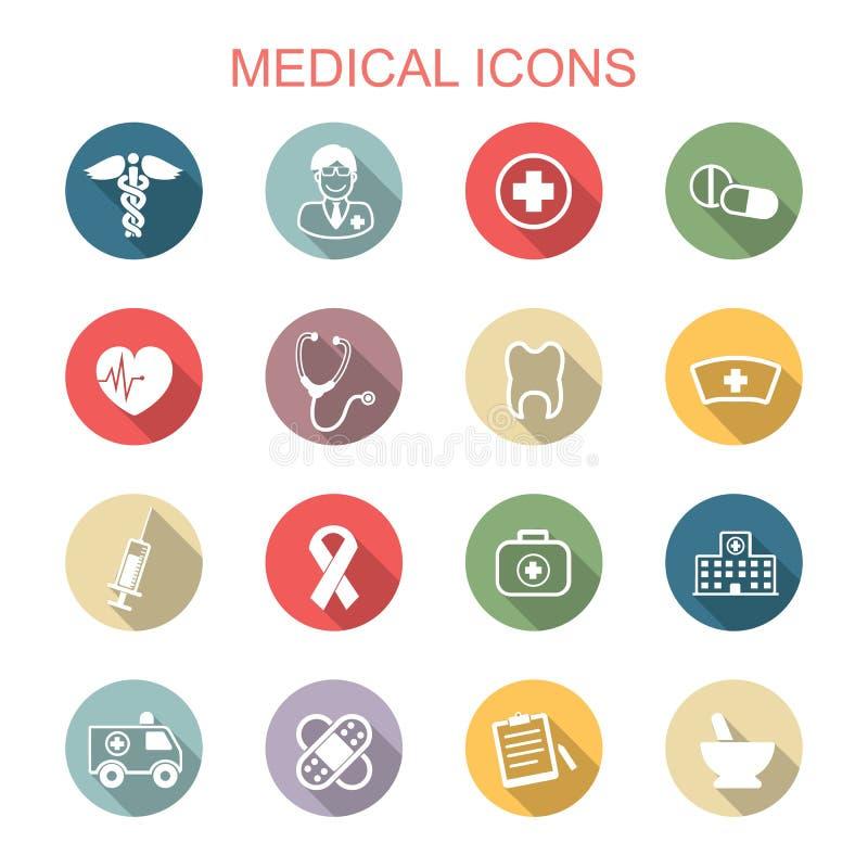 Medical long shadow icons. Flat vector symbols royalty free illustration
