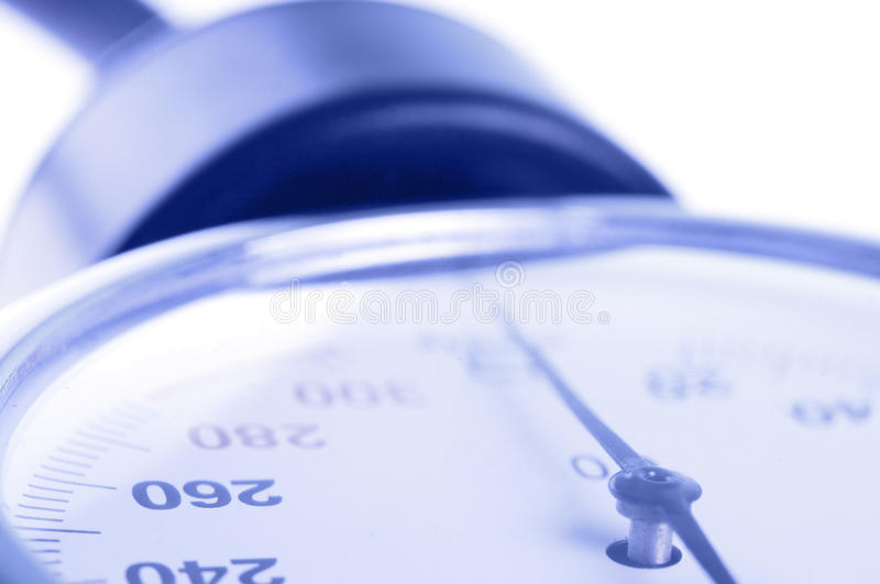 Medical manometer closeup. With selective focus on 260 figure as concept of high blood preasure stock photography