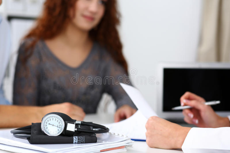 Medical manometer lying on table royalty free stock photography