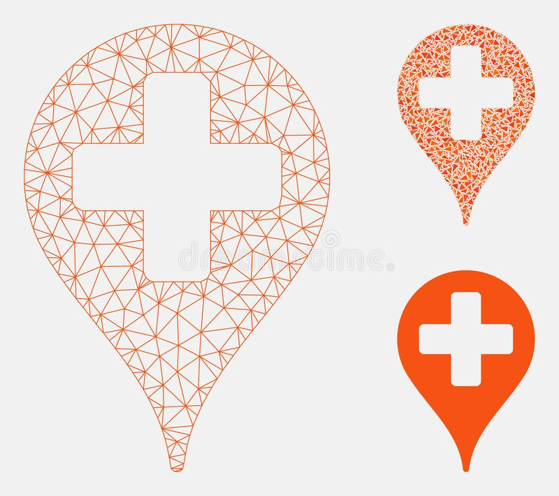 Medical Map Marker Vector Mesh Network Model and Triangle Mosaic Icon. Mesh medical map marker model with triangle mosaic icon. Wire frame triangular mesh of royalty free illustration