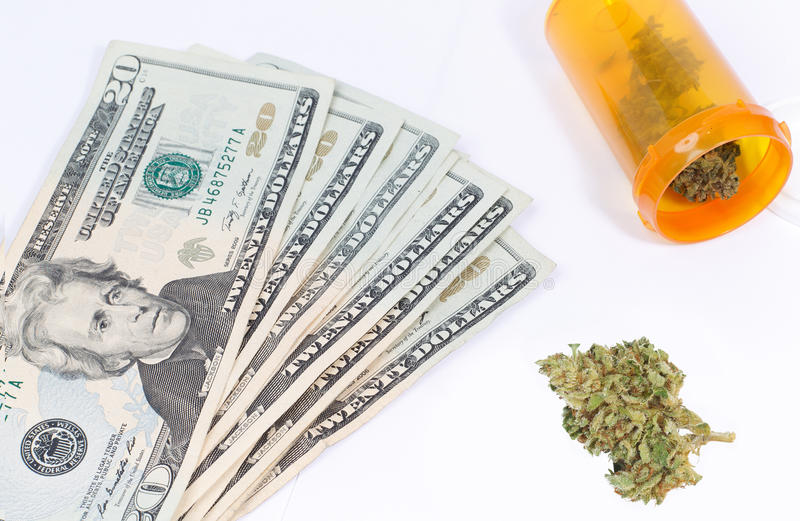 Medical Marijuana. Concept, Drugs and Money stock photo