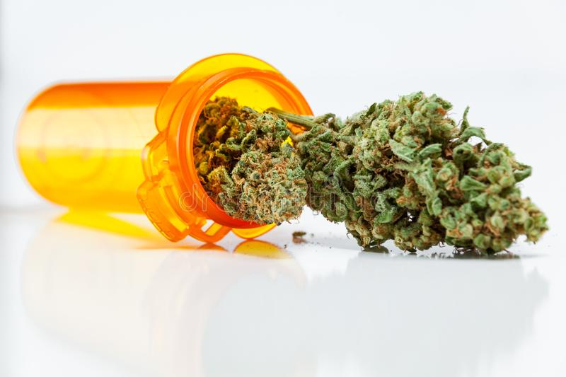 Medical Marijuana Cannabis Buds Spilling Out Of Prescription Bot stock images