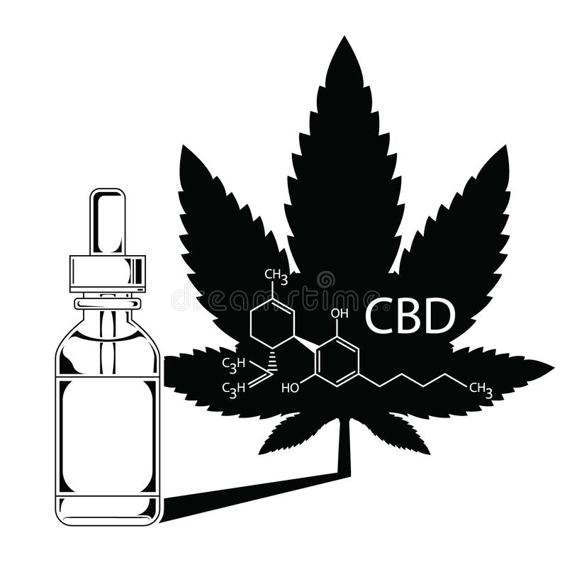 Medical Marijuana Cannabis Oil Extract In Bottle silhouette vector. Medical Cannabis Oil Extract In Bottle. A sheet of marijuana in the defocus with the image of royalty free illustration