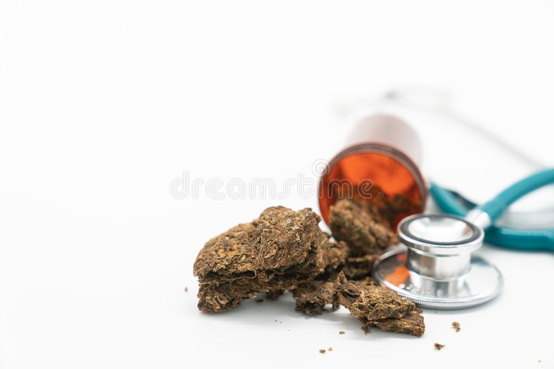 Medical Marijuana Close Up Cannabis Buds With Doctors Prescription For Weed. Medicinal Pot With Stethoscope royalty free stock photos