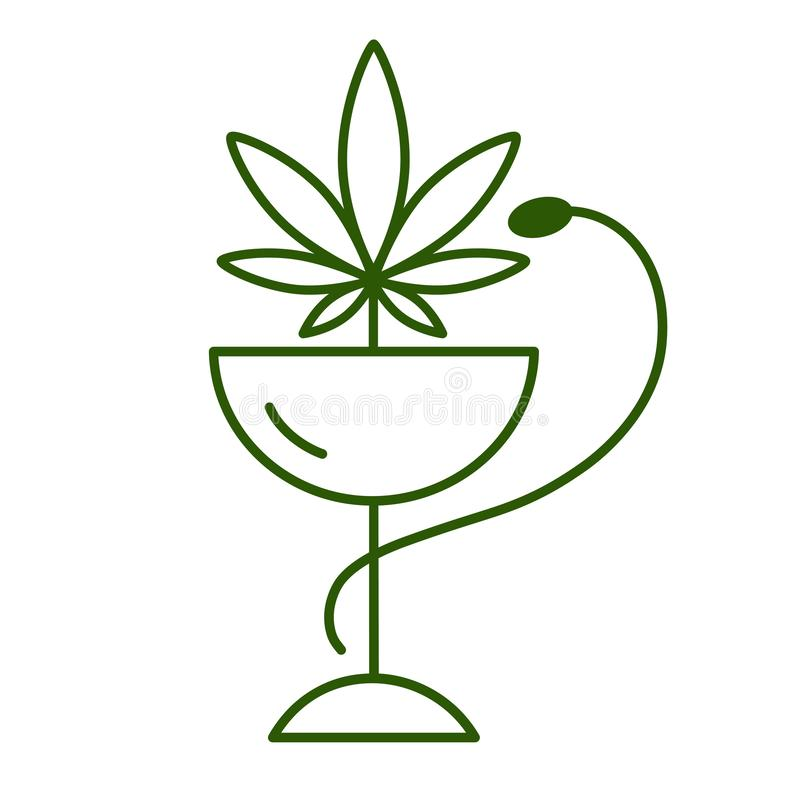 Medical marijuana with a green snake stock illustration
