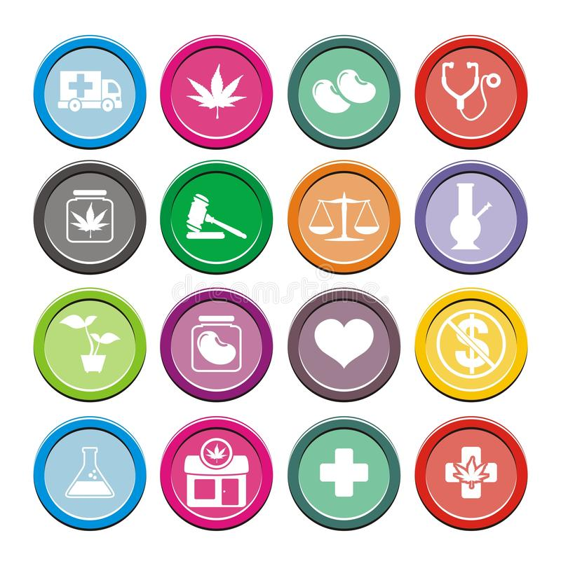 Medical marijuana icons - round icons. Suitable for user interface vector illustration