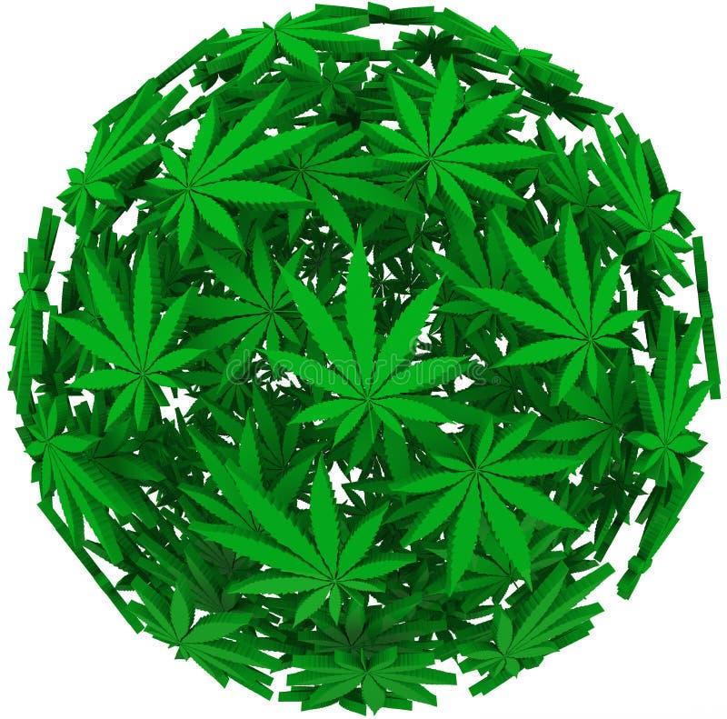 Medical Marijuana Leaf Sphere Background royalty free illustration