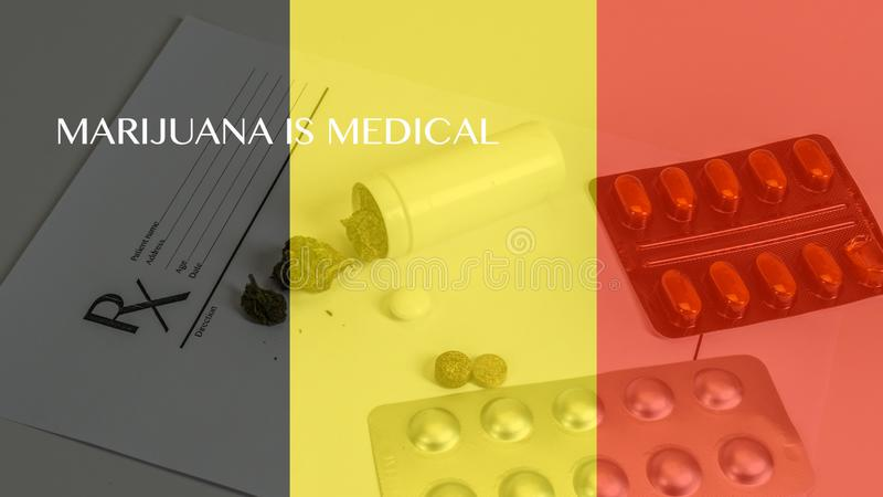 Medical marijuana leaves close up cannabis buds with doctors prescription for weed and pills on white background.  royalty free illustration