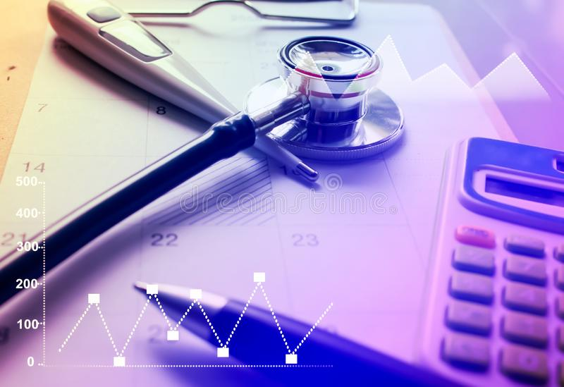 Medical marketing and Healthcare business analysis report royalty free stock images