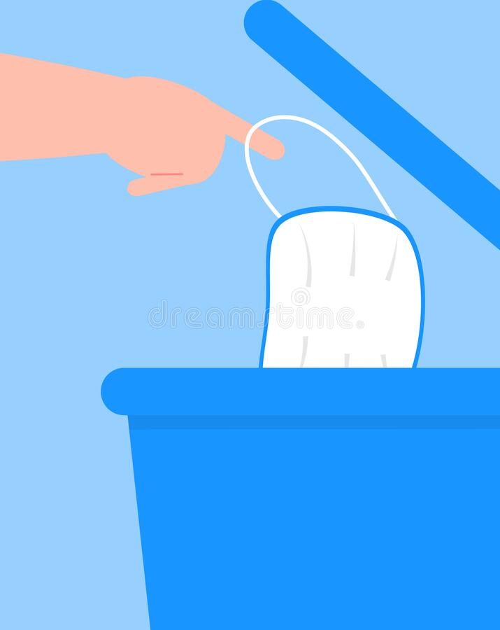Free Medical Mask Is Put Into Bin. Man Throws Away, Disposes Of Used Surgical Mask. Health Care Instruction Vector Stock Photos - 180713133