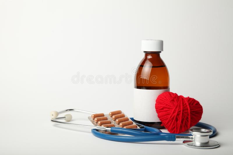 Medical medicines to treat and relieve heart pain. Health care stock images