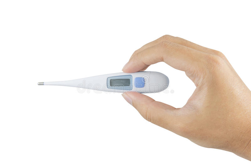 Medical mercury thermometer. Medical mercury thermometer showing elevated body temperature. focus on thermometer isolated on white royalty free stock photos