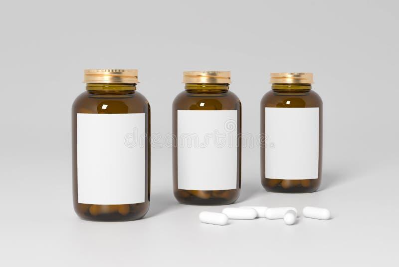 Medical mockup of three bottle stock image