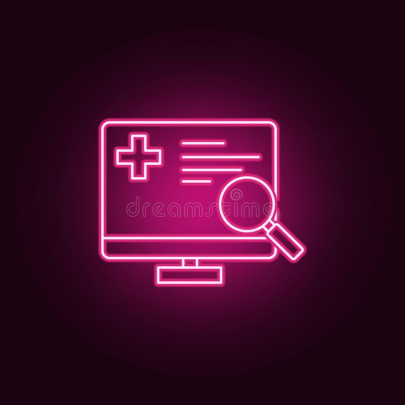 Medical monitoring neon icon. Elements of Medecine set. Simple icon for websites, web design, mobile app, info graphics stock illustration