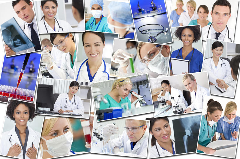 Medical Montage Doctors Nurses Research & Hospital. A photo montage of interracial medical workers people, men, women, doctors, nurses & teams in hospital and stock photography