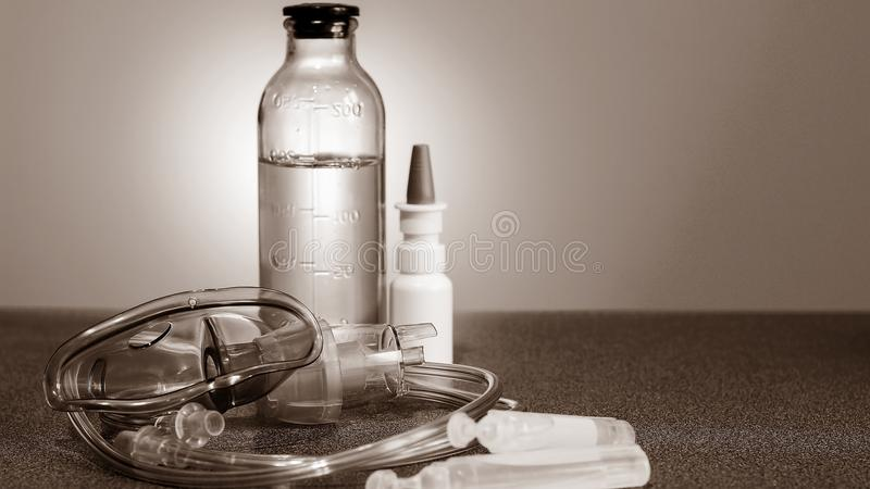 Medical nebulizer for the treatment of bronchitis. Camera agains. Medical nebulizer for the treatment of bronchitis royalty free stock images