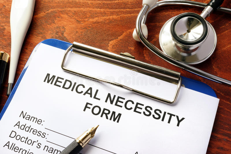 Medical Necessity form. stock images