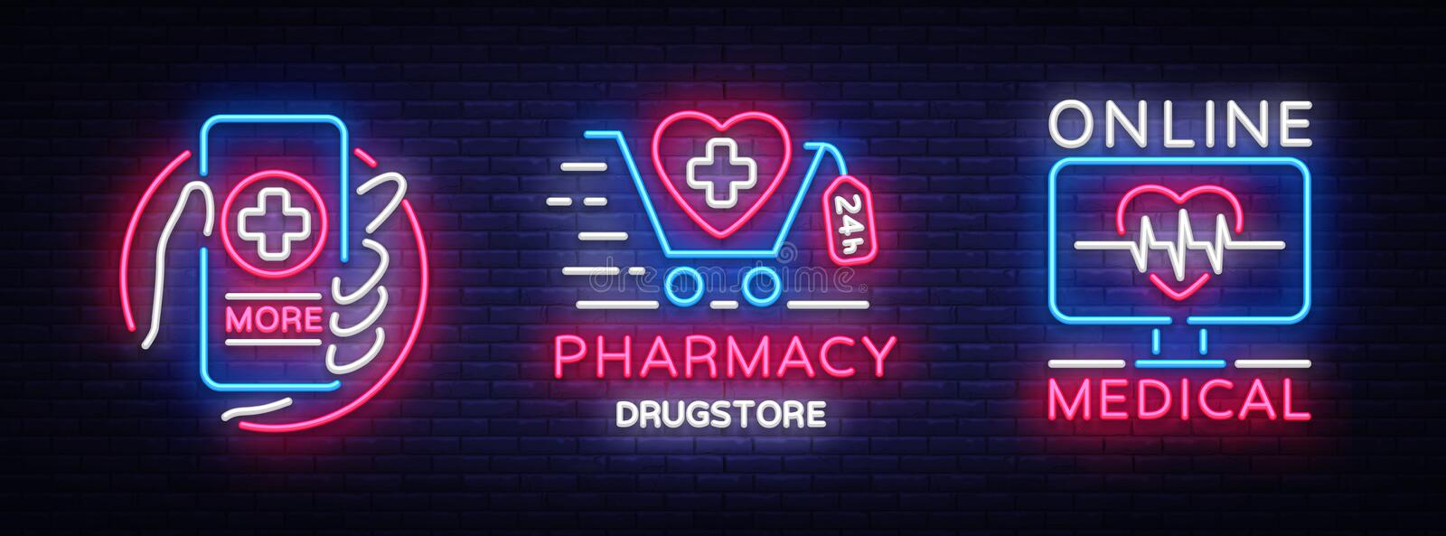 Medical neon sign collection vector. Pharmacy Design template neon sign, light banner, neon signboard, nightly bright vector illustration