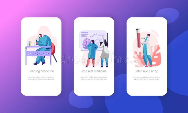 Medical Neurology Research Mobile App Page Onboard Screen Set. Healthcare Technology. Man Laboratory Explore in Microscope royalty free illustration