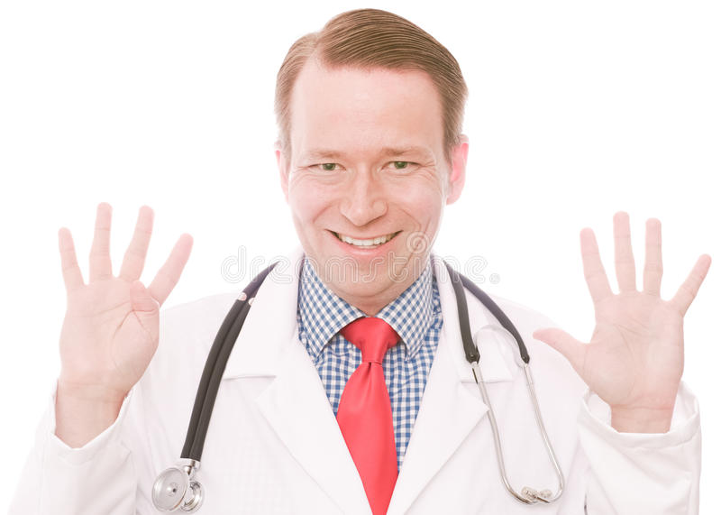 Medical nine. Young happy smiling physician showing the number nine on his fingers - isolated on white and retouched (As this is part of a series going from 1 to stock photography