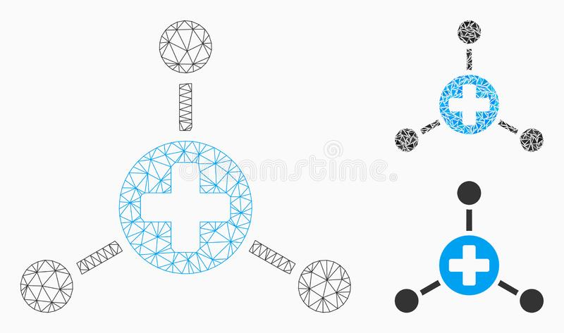 Medical Node Links Vector Mesh Wire Frame Model and Triangle Mosaic Icon. Mesh medical node links model with triangle mosaic icon. Wire frame polygonal network vector illustration