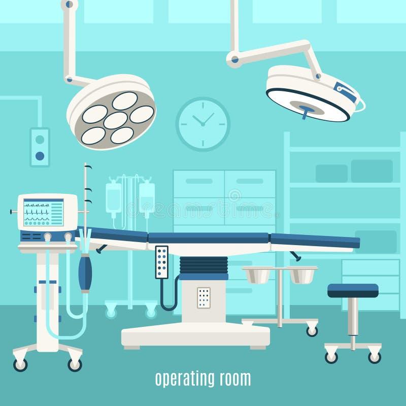 Medical operating room design poster stock illustration