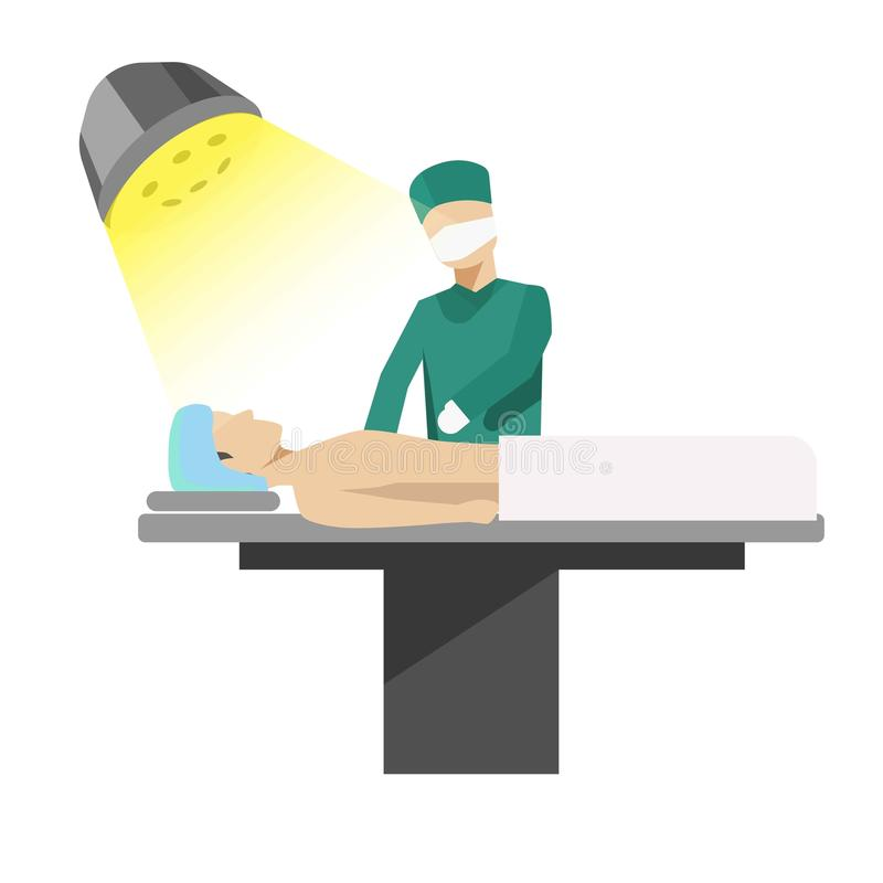 Medical operation process illustration with doctor and patient. Operation process illustration with doctor and patient. Vector medical surgery concept vector vector illustration