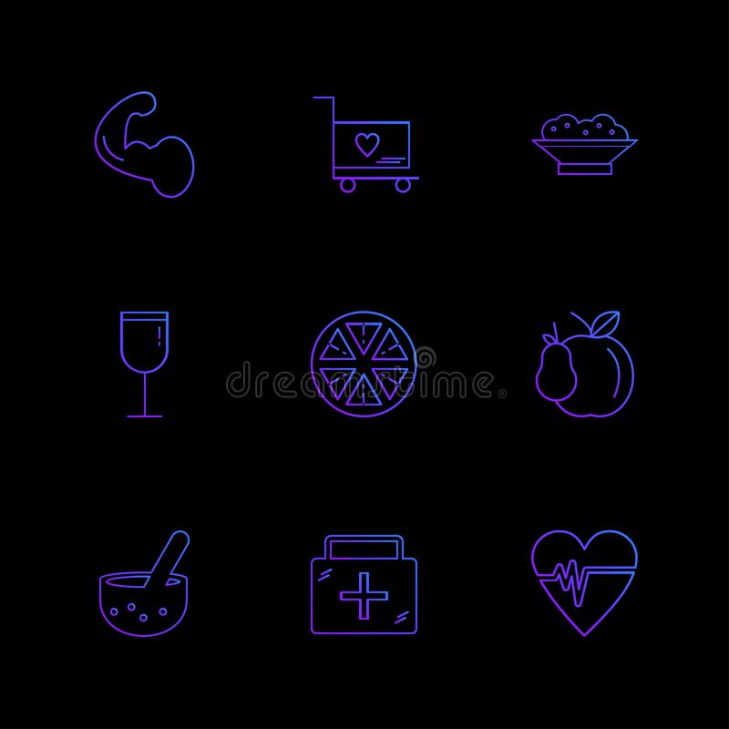 Medical ,orange , cart , breifcase , ecg , glass , fruits , heal. Medical ,orange , cart , breifcase ,medical , ecg , glass , fruits , health , fitness , medical vector illustration