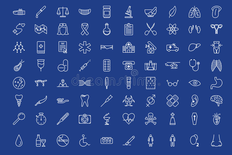80 medical outline icons set royalty free illustration